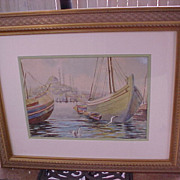 Large Original Watercolor Painting of Istanbul, Conservation Framed