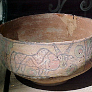 Large Bronze Age Herrapan Decorated Bowl 3000-2000B.C. Pakistan Colorful Polychrome Animals  .