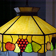 Antique Hanging Leaded/Slag Stained-Glass Lamp C.1880