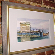 Framed Original Watercolor Painting Southern USA Water Scene Vintage