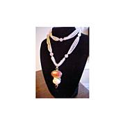 Estate Necklace Rose Quartz Carnelian Garnet signed SJ Sterling Silver