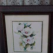 Watercolor Painting Botanical Flower Rose of Sharon