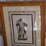 Osceola Seminole Chief Antique Wood Engraving 1857 Framed
