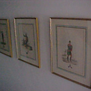 Ancient Armor Knights Framed Set (3) 1824 Hand Painted Engravings