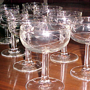 Crystal Sherbet Stemware Etched  (set 8)