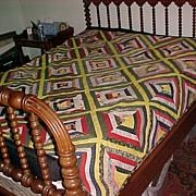 """Vintage Quilt """"Log Cabin"""" Hand Made from Shenandoah"""