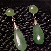 Natural apple jade dangle earrings 14K gold