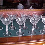 set (8) Champagne wine cut crystal stemware starburst design 1930-40