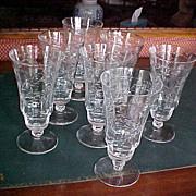 Set (7) cut crystal short stem goblets 1930-40 starburst design