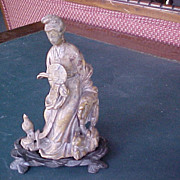 Shoushan carved stone female figure signed early 1900's