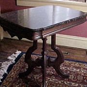 Exceptional Victorian Parlor Table Marble Walnut C.1850
