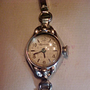 Vintage Bulova Swiss 17 jewel ladies windup watch overhauled movement white gold filled case