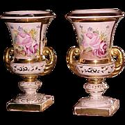 Fancy Old Paris Urns 19th Century Hand Painted Porcelain