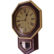"Octagon Regulator Wall Clock E. N. Welch C. 1890 Rosewood large ""public"" dial"