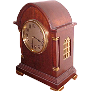 Bracket Clock Large Gothic Mahogany Waterbury 1914 Westminister Chimes