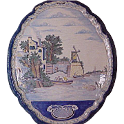 Delft Handpainted Polychrome Scenic Decorated Shield-form 1870