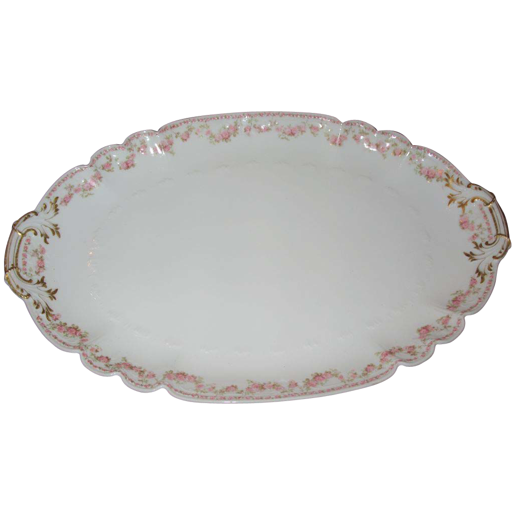 Charles Field Haviland platter 1900-1941 large with rose garlands