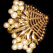 Brooch  Costume pearls in a basket   Trifari