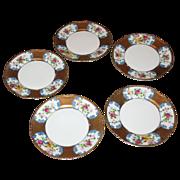 SALE 5 Noritake cake plates. Handpainted  Colorful bird and flowers