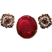Beautiful Costume Ruby Like Brooch with earrings Set