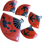 Vintage Japan lacquerware set of fan-shaped dishes