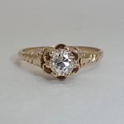 Victorian 0.43ct Diamond Engagement Ring Yellow Gold 14K