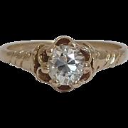 SALE Victorian 0.43ct Diamond Engagement Ring Yellow Gold 14K