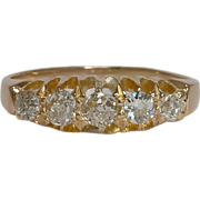 SALE English Victorian 0.50ct 5 Stone Band in 18K Yellow Gold