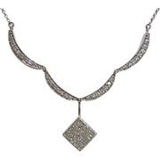 SALE Unique Convertible Diamond Necklace in 14K White Gold