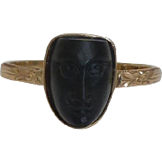 SALE Egyptian Revival Art Nouveau Carved Jet Figural Ring in 14K Yellow Gold