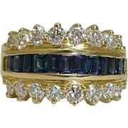 SALE Luxurious Diamond & Sapphire Cocktail Ring in 18K Yellow gold