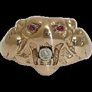 SALE Antique Mens Diamond & Ruby Lion Ring in 14K Rose Gold