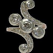 SALE Fantastic Victorian 1.72 carat Diamond Swirl Ring in Platinum & Rose Gold