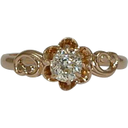 SALE Victorian 0.40ct Mine Cut Diamond Solitaire Engagement Ring in Yellow Gold 14k