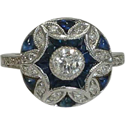 SALE Vintage Diamond & French cut Sapphire ring in 14k White Gold