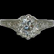 SALE Delightful Edwardian Hand Engraved 0.95ct Engagement Ring in Platinum