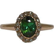 SALE Victorian Rose Cut Diamond & Green Garnet Ring in 14k Gold