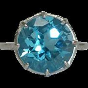SALE Vintage 4.50ct Swiss Blue Topaz in Platinum Solitaire Ring