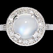 SALE Art Deco 5.16ct Moonstone & Diamond Ring in Luxurious Platinum