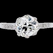 SALE Romantic Edwardian 1.78ct Diamond Solitaire in Luxurious Platinum