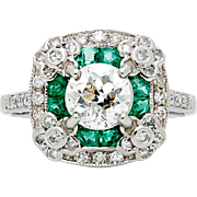 SALE Vintage 2.04ct Diamond & Emerald Floral Engagement Ring in Platinum