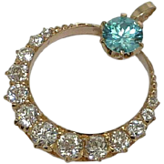 Victorian 3.15ct Mine Cut Diamond & Blue Zircon Pendant in 14k Yellow Gold