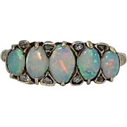 English Victorian Five Stone Opal & Diamond Ring in 18k Yellow Gold