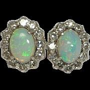 Antique Edwardian Lightning Ridge Opal & Diamond Earrings in 14K Gold