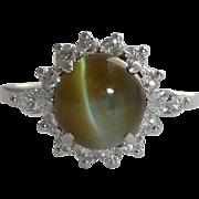 SALE Exceptional 4.07 Carat Chrysoberyl & Diamond Ring in Platinum