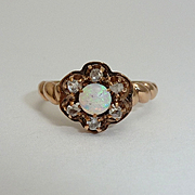 English Victorian Opal & Diamond Ring in Rose Gold