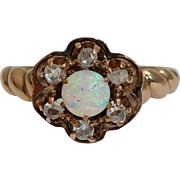 SALE English Victorian Opal & Diamond Ring in Rose Gold