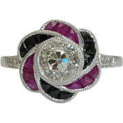 SALE Art Deco 2.64ct Diamond, Ruby, & Onyx Ring in Platinum