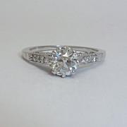 English Edwardian Platinum & 1.60ct VVS Diamond Ring