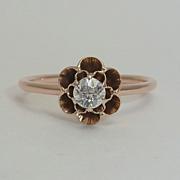 Art Nouveau Buttercup 0.25ct Diamond Ring in Rose Gold 14K